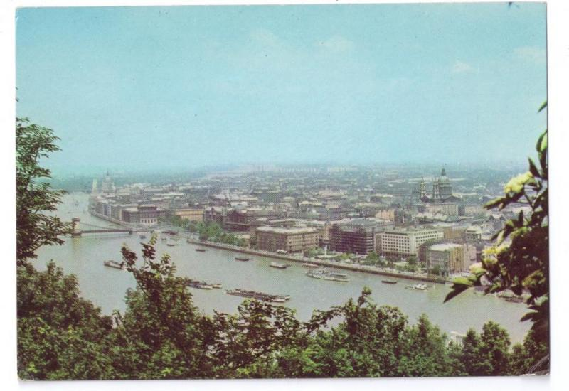 View of Budapest Hungary Postcard 1968