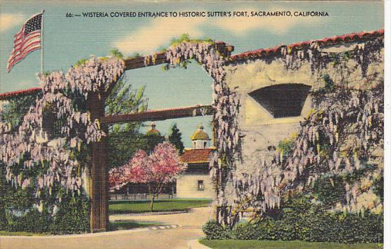 Wisteria Covered Entrance To Historic Sutter's Fort Sacramento California