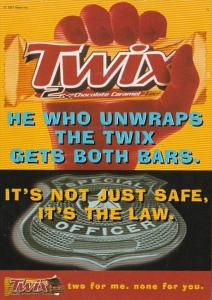 Advertising Twix Chocolate Caramel Candy 1997