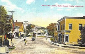 North Woodstock NH Main Street Storefronts Stage Coach Postcard