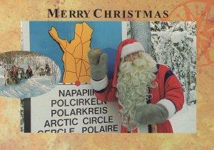 Santa Claus Arctic Circle Map Christmas Comic Postcard
