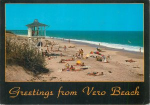 Postcard USA Florida greetings from vero beach tourists ocean sea-side waves sun