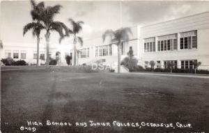 California Ca Postcard Photo RPPC c1940s OCEAnSIDE High School Junior College