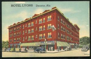 Decatur Alabama al Hotel Lyons cars autos old postcard #2