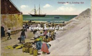 curacao, W.I., WILLEMSTAD, Loading Salt (1910s)