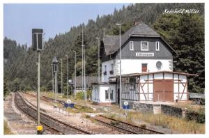 Postcard Train Railway Station of Lichtentanne in Thuringia Germany 97D