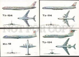 094053 USSR Passenger PLANES AEROFLOT Collection 16 cards