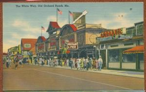 The White Way Old Orchard Beach Maine me linen postcard