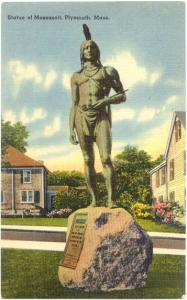 Statue of Massasoit, Indian, Plymouth, Massachusetts, MA, Linen
