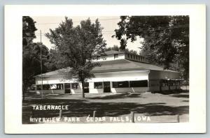 Cedar Falls Iowa~Riverview Park~Tabernacle~Auditorium~Windows Propped~1940s RPPC