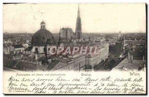 Postcard Old Graben Wien Panorama mit und Peters Stefanskirche