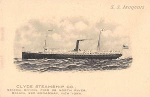New York New York Clyde Steamship Co SS Iroquois antique pc Z13507