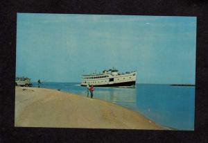 RI  M V Quonset Ferry Boat Pt Judith Rhode Island Block Postcard Fishing Harbor