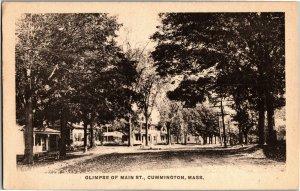 Glimpse View of Main Street Cummington MA c1927 Vintage Postcard X09