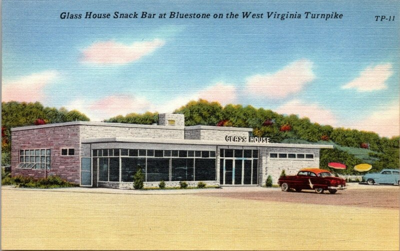 GLASS HOUSE SNACK BAR AT BLUESTONE ON THE WEST VIRGINIA TURNPIKE,1940'S