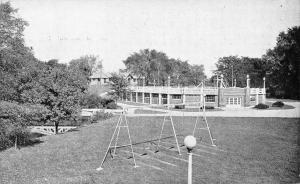 Greenfield IN Whitcomb Riley City Pool~Swing Set~Footbridge~Playground 1940s B&W