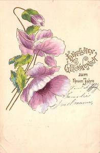BG14728 new year neujahr flower embossed   germany