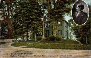 Portland ME Home of Lillian M W Stevens Temperance Leader Postcard used 1909