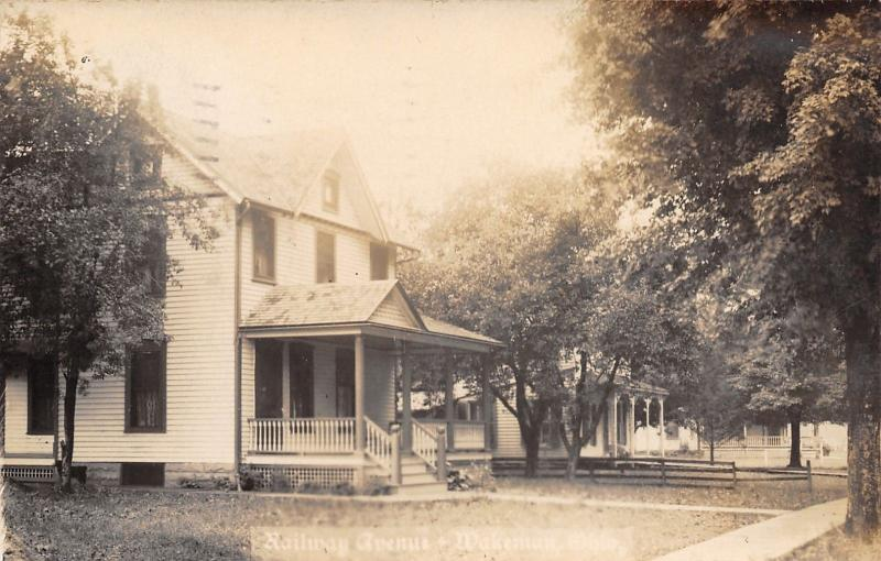 Wakeman OH 2 Homes w/Nice Porches on Railway (Now Main?) St~RPPC 1909 Real Photo