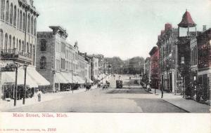 Niles Michigan~Main St~Open Window Bell Tower~Fancy Roof Lines c1910 Postcard