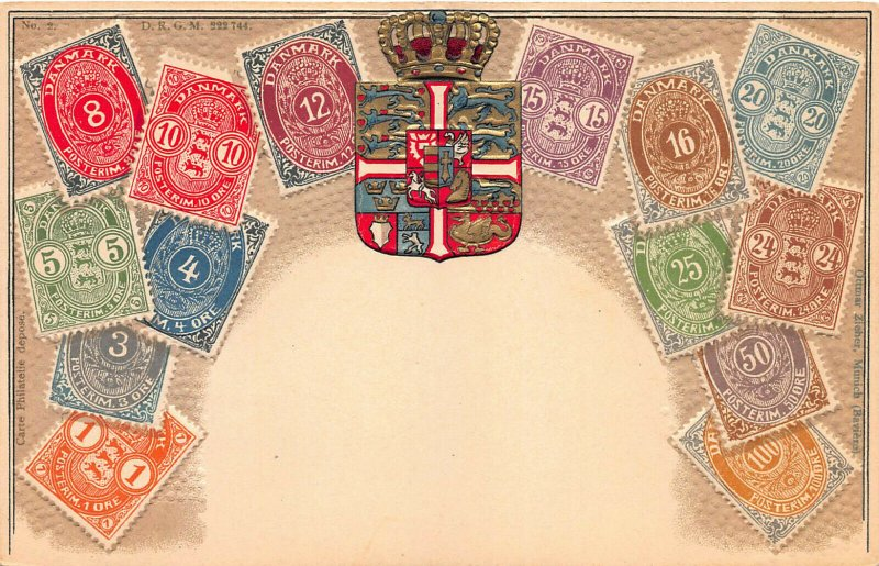 Denmark Stamps on Early Embossed Postcard, Unused, Published by Ottmar Zieher