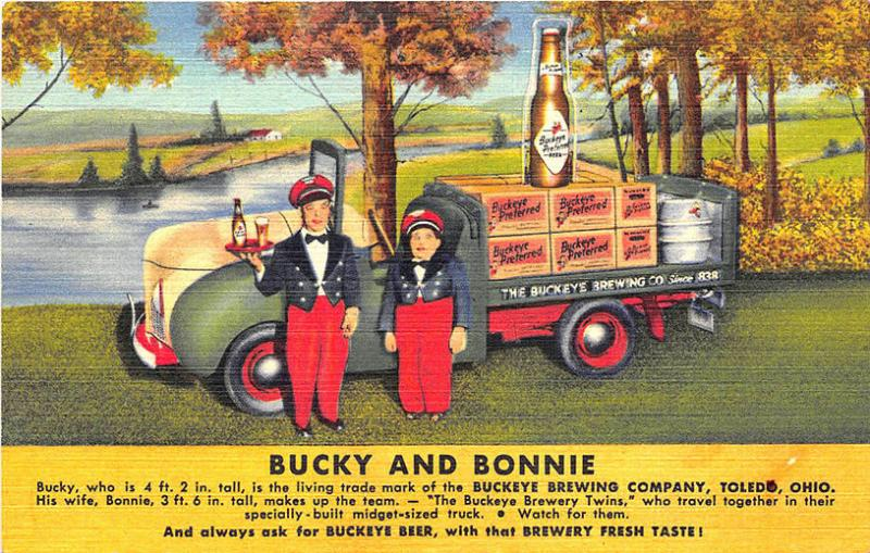 Toledo OH Bucky and Bonnie Beer Brewery Truck Curt Teich Linen Postcard