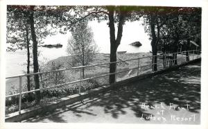 Lutsen Resort MN Railing on Parking Lot by Lake Superior~RPPC