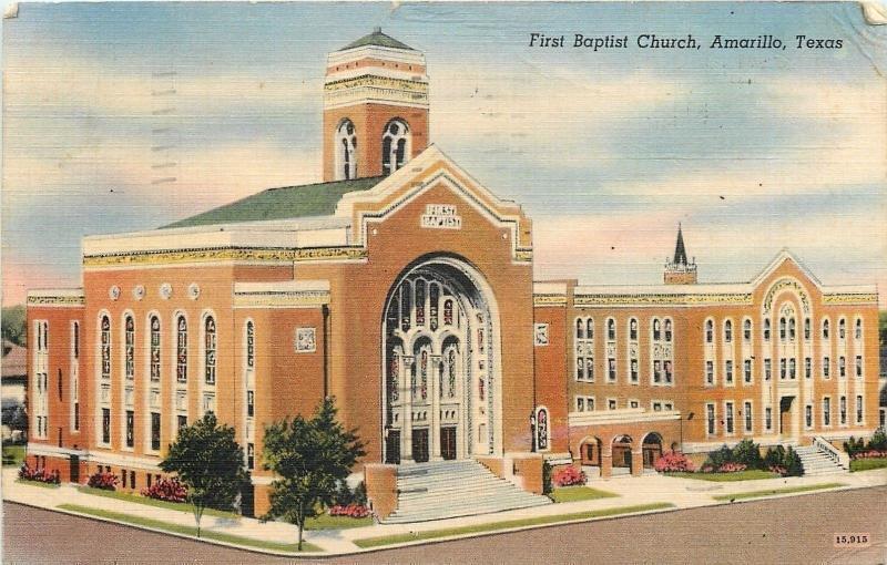 Amarillo Texas~First Baptist Church~1949 Linen Postcard