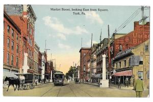 York PA Market St Looking East from Square Vntg Postcard