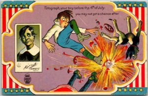 Vintage 1910s FOURTH OF JULY Comic Patriotic Postcard Boy Dog Firecrackers