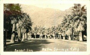 Desert Inn Palm Springs California roadside 1940s Postcard RPPC Real Photo 7694