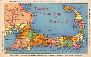 Auto Map of Cape Cod, MA USA Postcard Unused