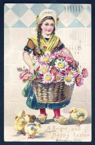 'Bright & Happy Easter' Dutch Girl Flowers Chicks Used 1907