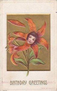 Flower Faces Birthday Greetings 1910