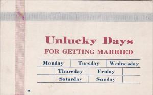 Humour Unlucky Days For Getting Married