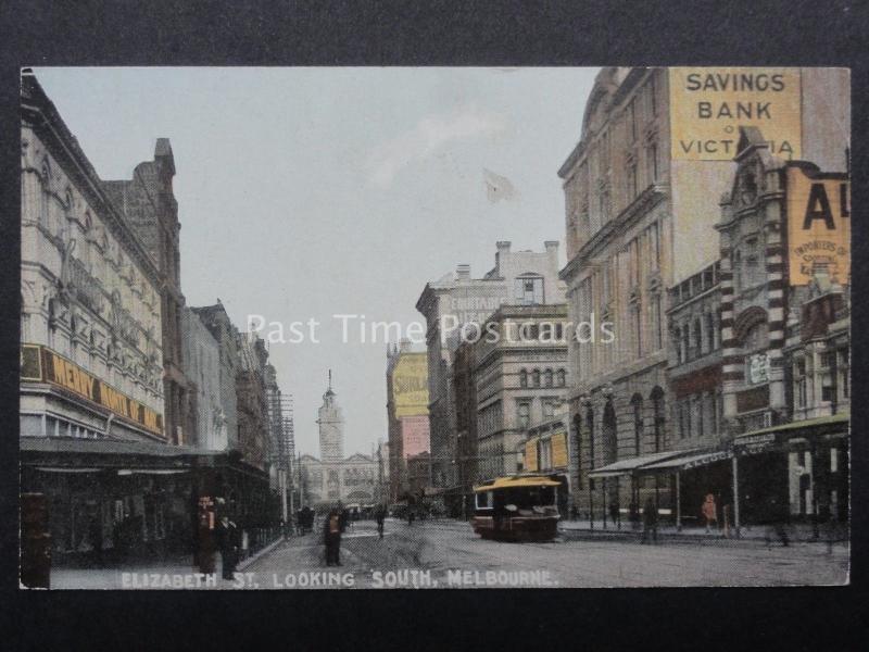 Australia MELBOURNE Elizabeth Street looking South Old Postcard by R.E.M.