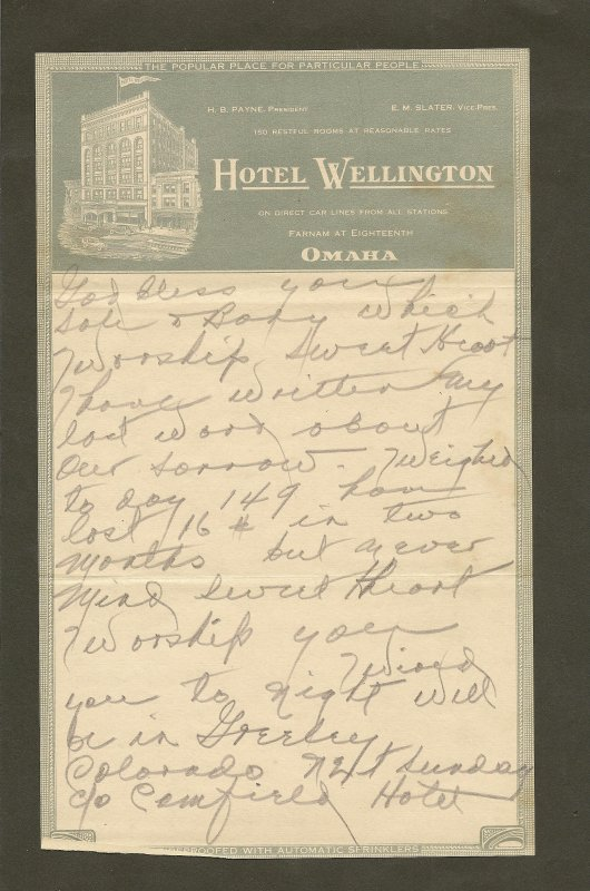 Hotel Wellington Omaha 1920's Stationary Used PLEASE READ NOTE