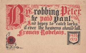 Francis Robelais Robbing Peter To Pay Paul Songcard Antique Old Postcard