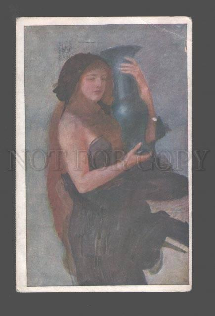 083894 Woman LONG HAIR w/ VASE by AXENTOWICZ old ART NOUVEAU