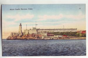P974 vintage linen card morro castle, havana cuba