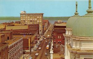 Paducah Kentucky~Broadway Looking East @ Ohio River~Bus~1950s Postcard