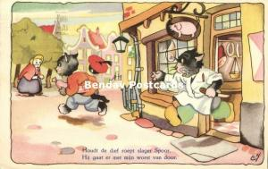 Dressed Cats, Thief steals Sausage from Butcher (1954) Artist Signed LvN
