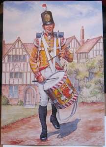 Postcard Military Drummer the 77th Regiment of Foot East Middlesex - unposted