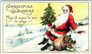 1916 SANTA CLAUS Postcard Red Suit Xmas Tree Bag of Toys CHRISTMAS GLADNESS