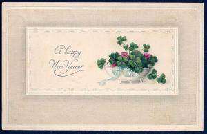 Happy New Year Clover in a Bowl used c1914