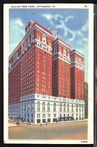 USA Postcard William Penn Hotel Pittsburgh Pennsylvania