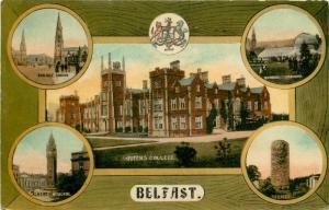Multiview Postcard Belfast Northern Ireland Queens College Drumbo Botanic Garden