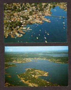 ME Lot 2 Aerial City BOOTHBAY HARBOR MAINE POSTCARDS