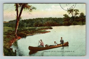 Dover NH-New Hampshire, Canoeing On The Cocheco Vintage c1909 Postcard
