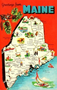Maine Greetings With Map
